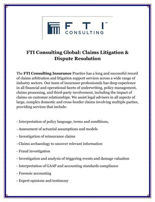 FTI Consulting Global: Claims Litigation & Dispute Resolution