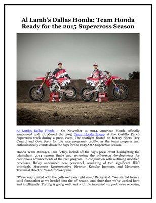 Al Lamb's Dallas Honda: Team Honda Ready for the 2015 Supercross Season