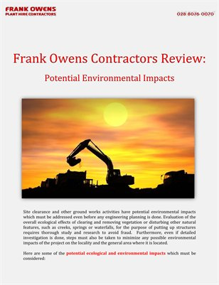 Frank Owens Contractors Review: Potential Environmental Impacts
