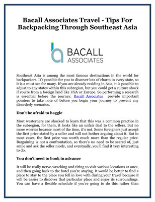 Bacall Associates Travel - Tips For Backpacking Through Southeast Asia