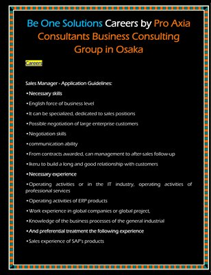 Be One Solutions Careers by Pro Axia Consultants Business Consulting Group in Osaka