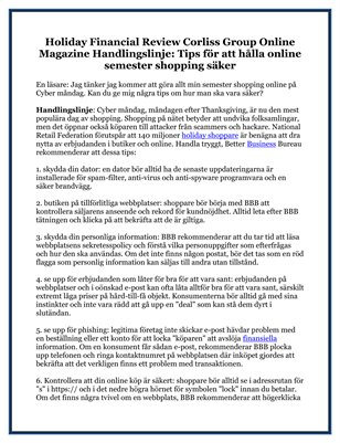 Holiday Financial Review Corliss Group Online Magazine Handlingslinje: Tips för att hålla online semester shopping säker
