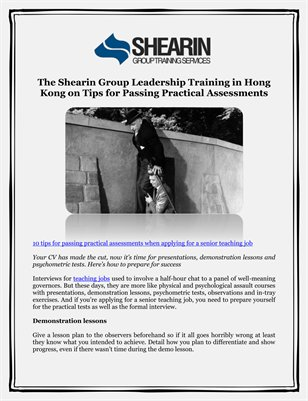The Shearin Group Leadership Training in Hong Kong on Tips for Passing Practical Assessments