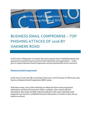 Business Email Compromise – Top Phishing Attacks of 2016 by Oakmere Road