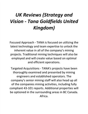 UK Reviews (Strategy and Vision - Tana Goldfields United Kingdom)