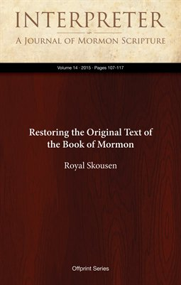 Restoring the Original Text of the Book of Mormon