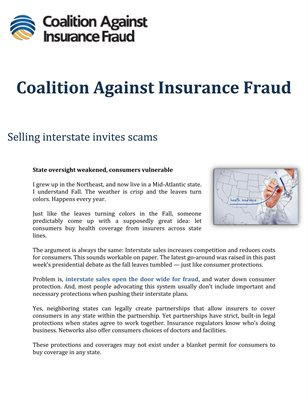 Coalition Against Insurance Fraud: Selling interstate invites scams