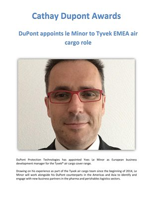 Cathay Dupont Award: DuPont appoints le Minor to Tyvek EMEA air cargo role