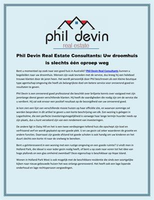 Phil Devin Real Estate Consultants: Uw droomhuis is slechts één oproep weg