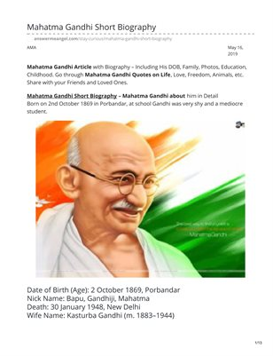 Mahatma Gandhi Short Biography