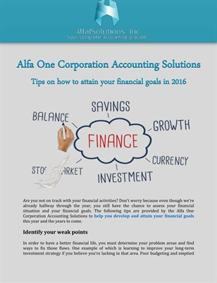 Alfa One Corporation, Tips on how to attain your financial goals in 2016