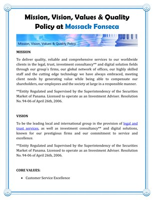 Mission, Vision, Values & Quality Policy at Mossack Fonseca