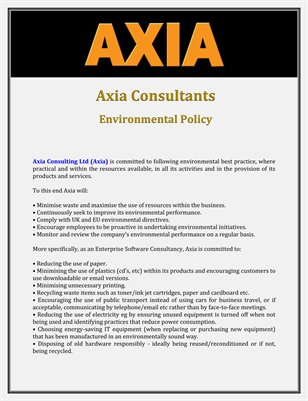Axia Consultants: Environmental Policy