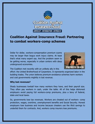 Coalition Against Insurance Fraud: Partnering to combat workers-comp schemes