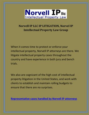 Norvell IP LLC IP LITIGATION Norvel IP Intellectual Property Law Group