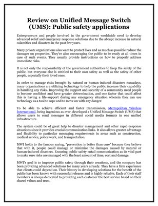 Review on Unified Message Switch (UMS): Public safety applications