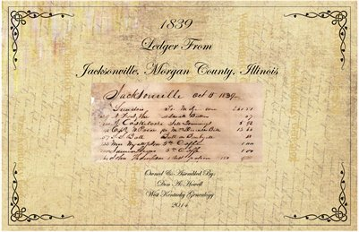 1839 Ledger from Jacksonville, Morgan County, Illinois