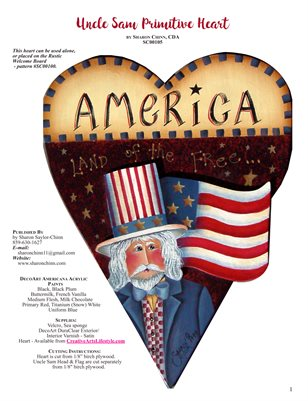 Uncle Sam Primitive Heart Painting Pattern by Sharon Chinn - SC00105