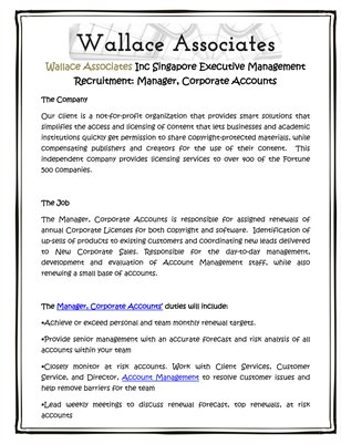 Wallace Associates Inc Singapore Executive Management Recruitment: Manager, Corporate Accounts