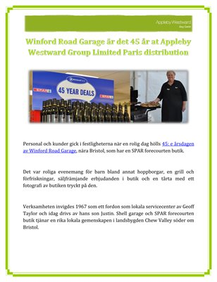 Winford Road Garage är det 45 år at Appleby Westward Group Limited Paris distribution