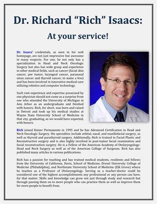 "At your service! - Dr. Richard ""Rich"" Isaacs"