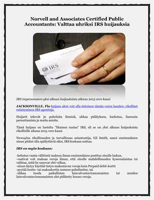 Norvell and Associates Certified Public Accountants: Valttaa uhriksi IRS huijauksia