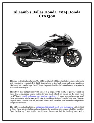 Al Lamb's Dallas Honda: 2014 Honda CTX1300