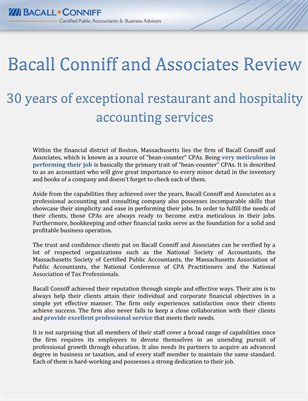 Bacall Conniff and Associates Review: 30 years of exceptional restaurant and hospitality accounting services