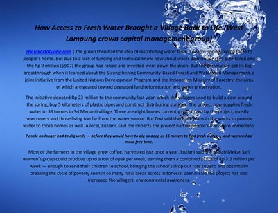 How Access to Fresh Water Brought a Village Back to Life (West Lampung crown capital management group)