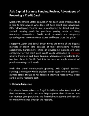 Axis Capital Business Funding Review, Advantages of Procuring a Credit Card