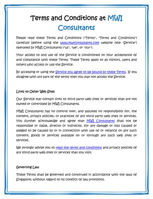 Terms and Conditions at MWI Consultants