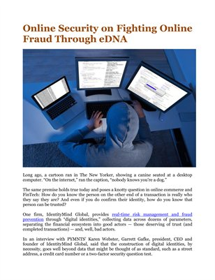 Online Security on Fighting Online Fraud Through eDNA