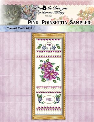 Pink Poinsettia Sampler Cross Stitch Pattern