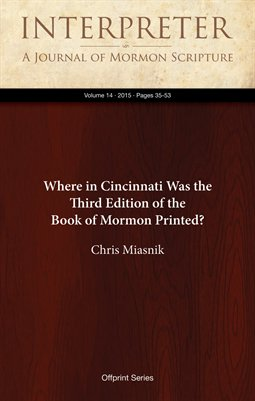 Where in Cincinnati Was the Third Edition of the Book of Mormon Printed?
