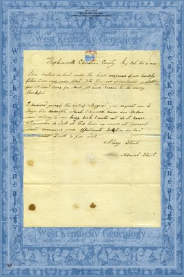 1839 Letter from Mary Stout in Hopkinsville, Christian County, KY to Adriel Stout in Paris, Edgar County, IL