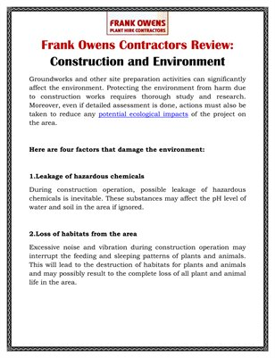Frank Owens Contractors Review: Construction and Environment