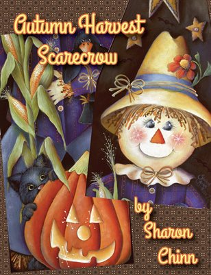 Autumn Harvest Scarecrow Ironing Board Painting Tutorial by Sharon Chinn