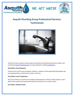 Asquith Plumbing Group Professional Services: Testimonials
