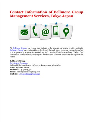 Contact Information of Bellmore Group Management Services, Tokyo Japan