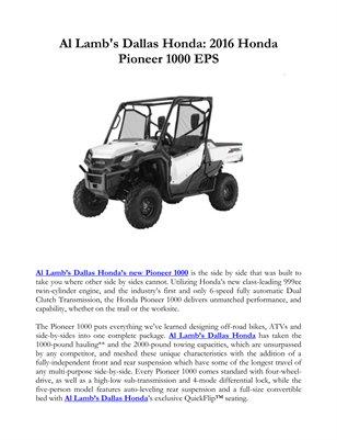 Al Lamb's Dallas Honda: 2016 Honda Pioneer 1000 EPS