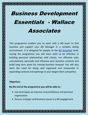 Business Development Essentials  - Wallace Associates