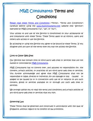MWI Consultants: Terms and Conditions