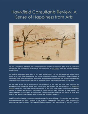 Hawkfield Consultants Review: A Sense of Happiness from Arts