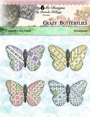 Crazy Butterly Ornaments Cross Stitch Pattern