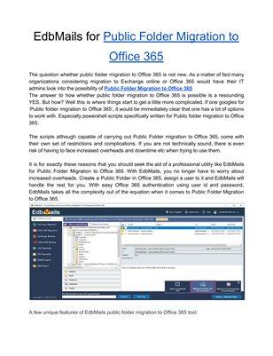EdbMails for Public Folder Migration to Office 365