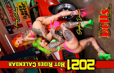 Delicious Dolls 2021 Hot Rides Calendar with Honey Sabina and Stephie Danger cover