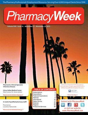 Pharmacy Week, Volume XXII - Issue 41 - November 17 - November 23, 2013
