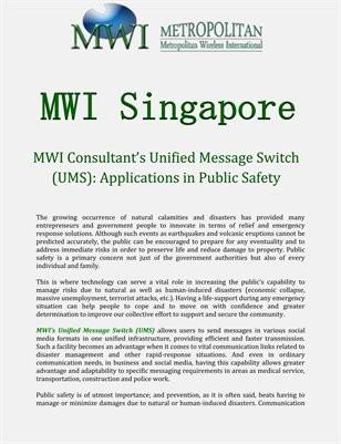 MWI Consultant's Unified Message Switch (UMS): Applications in Public Safety