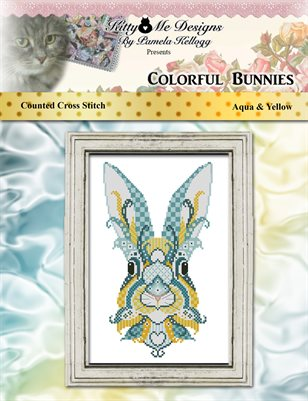 Colorful Bunnies Aqua and Yellow Counted Cross Stitch Pattern
