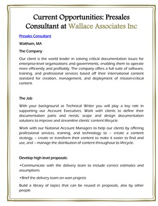 Current Opportunities: Presales Consultant at Wallace Associates Inc